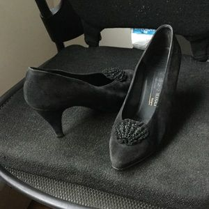 Bruno Magli Vintage Couture Black Suede Pumps!
